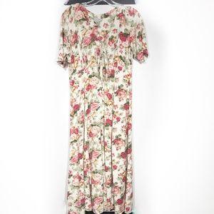 Vintage Floral Front Tie Button Down Maxi Dress